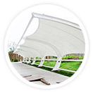 法拉利膜材具有高透光率,透光率为13%,在遮阳蔽雨的同进对热能反射率73%,热吸收量很少。